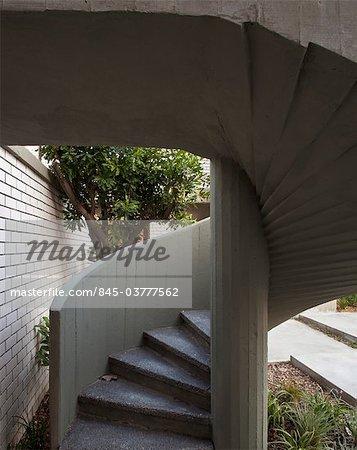 Modern concrete external spiral staircase. Architects: Pitsou Kedem.