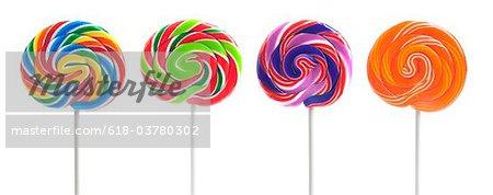 Four Colorful Swirl Lollipops