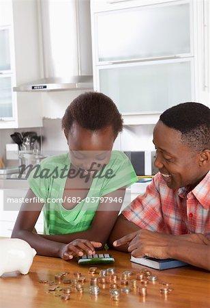 Vater helfen, Tochter Graf Geld, Johannesburg, Südafrika