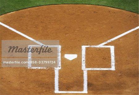 Home plate on baseball diamond