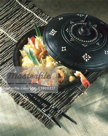 Shrimp pilaf from the islands