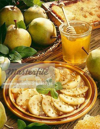 tranches de poires au miel