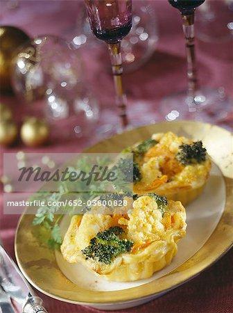 Broccoli,cauliflower and carrot tartlettes