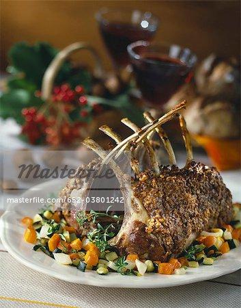 Loin of lamb with walnut crust