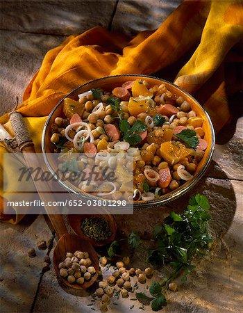 Salade de pois chiches, saucisse et orange