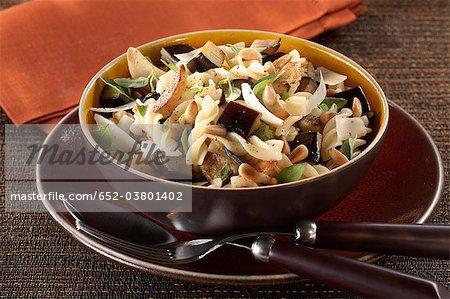 Fusillis with eggplants,pine nuts,basil and parmesan