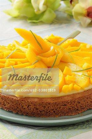 Mango und Limette Shortbread-Torte