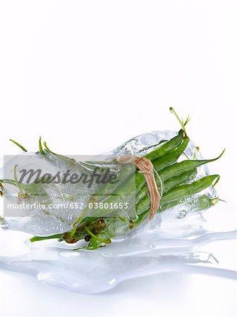 Haricots verts dans la glace