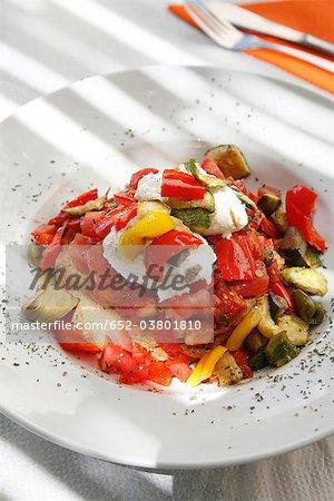Pepper,tomato and feta salad