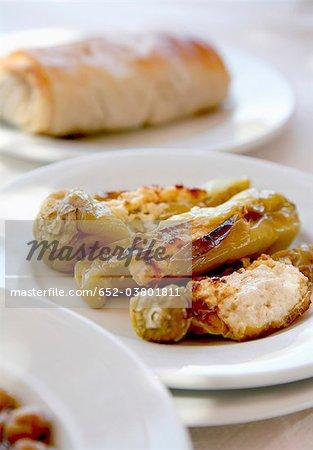 Poivrons farcis à la tarte aux épinards et fromage de Brousse
