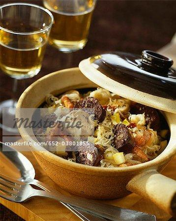 Morcilla, lardons et pommes Choucroute