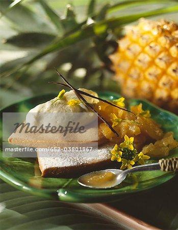 Stewed Victoria pineapple shortbread tartlet