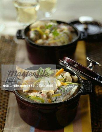 Casserole dish of fish stew