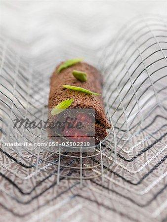 Gâteau roulé au chocolat et menthe