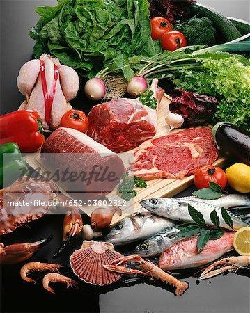 Choix de viande et de poisson cru