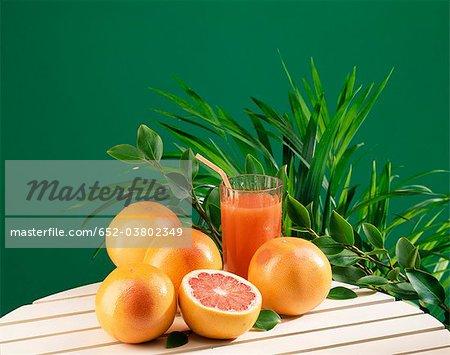 Fresh pink grapefruit juice