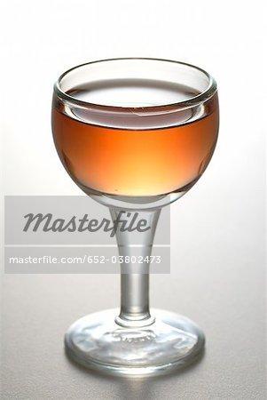 Glass of rosé wine