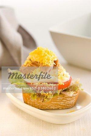 Thon, tomate et laitue sur une tranche de bouchées de pain