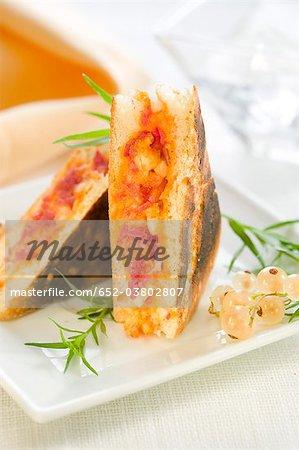 Salami, mozzarella and tomato sauce mini sandwich