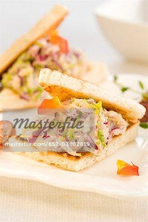 Red cabbage and tuna mini sandwich