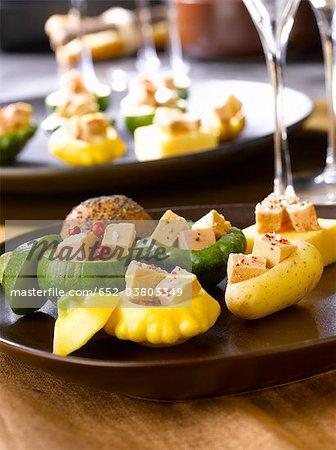 Mini vegetables stuffed with foie gras