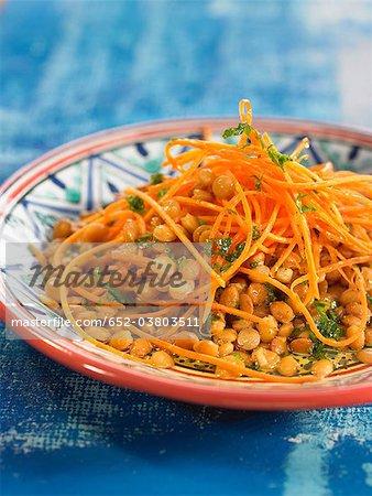 Salade de lentilles et la carotte