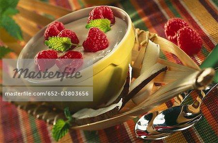 Cream dessert with raspberries