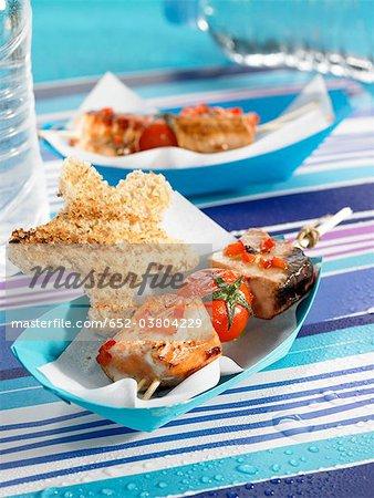 Tuna,pepper and tomato brochette