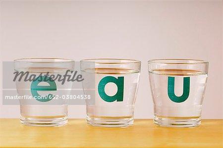 Le mot « eau » écrit sur trois verres d'eau