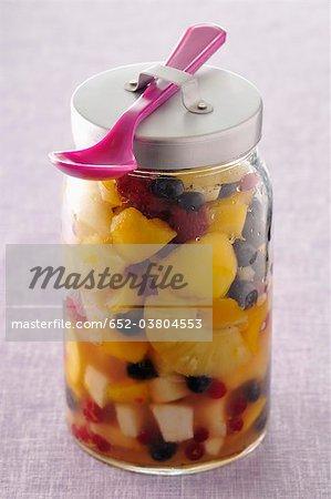 Jar of fruit salad