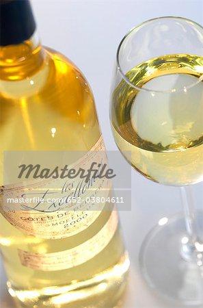 Bouteille et verre blanc Côtes de Bergerac