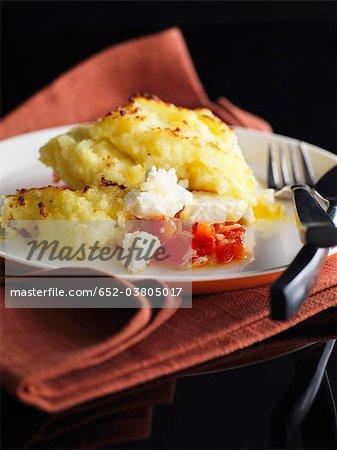 Feta et aux poivrons rouges Parmentier