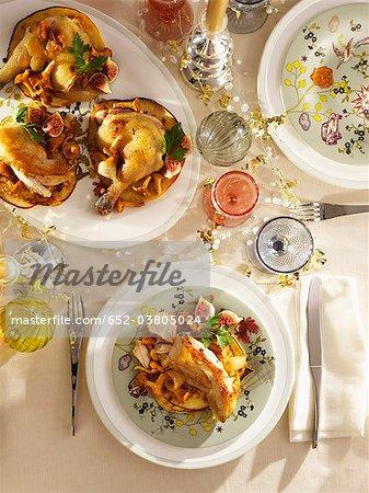 Poularde de Bresse,creamy chanterelles and potato blinis