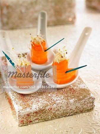 Carrot,hummus and alfafa appetizers