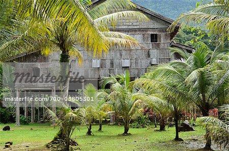 Maison Melanau Tall, Village culturel de Sarawak, Santubong, Sarawak, Bornéo, Malaisie