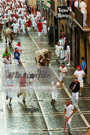 Exécution du taureaux, Fiesta de San Fermin, Pampelune, Navarre, Espagne