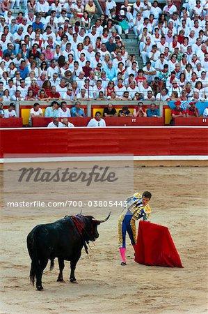 Matador und Bull in der Stierkampfarena, Fiesta de San Fermin, Pamplona, Navarra, Spanien