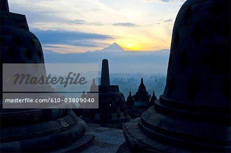 Indonesia, Java, Borobudur temple and mount Merapi in the background