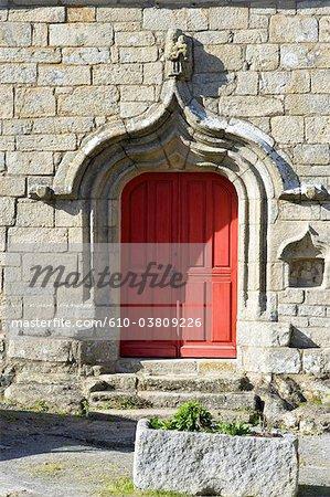 France, Pays de la Loire, Piriac-sur-Mer, door of a church