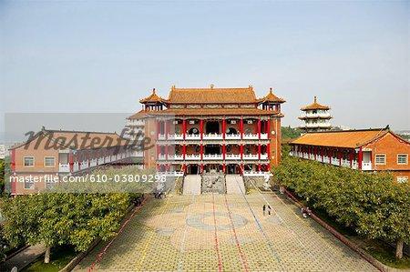 China, Taiwan, Changhua, courtyard of the buddhist temple