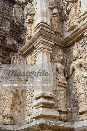 Thaïlande, Chiang Mai, temple Wat Jet Yot, détail