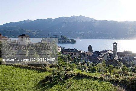 Italy, Piedmont, lake and village of Orta San Giulio