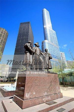 États-Unis, Illinois, Chicago, statue de George Washington