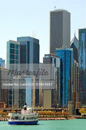États-Unis, Illinois, Chicago, bâtiments et lac Michigan