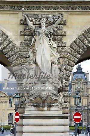 France, Paris (75), Ile de France, entrance of the Louvre in front of the pont du carrousel