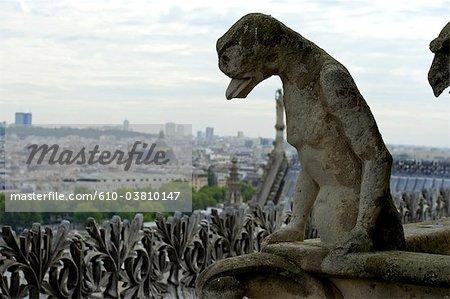 France, Paris (75), Ile de France, Notre Dame, statue