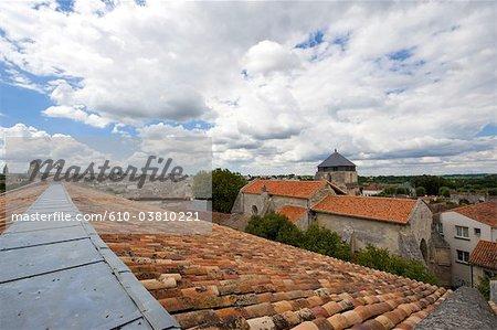 France, Poitou Charentes, Saintes, roofs of the abbaye aux dames