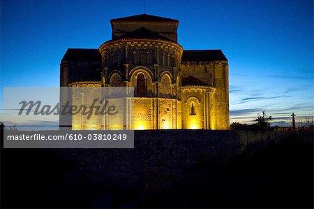 France, Poitou Charentes, Talmont sur Gironde, church of St Ragedonde by night