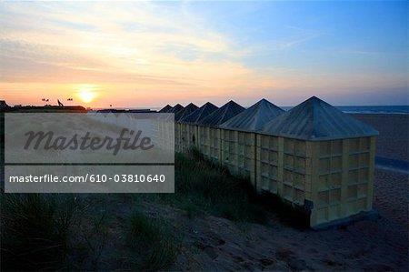 France, Normandie, Ouistreham, cabane de plage