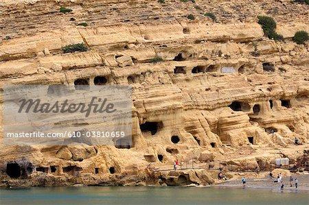 Grottes de la Grèce, Crète, Matala